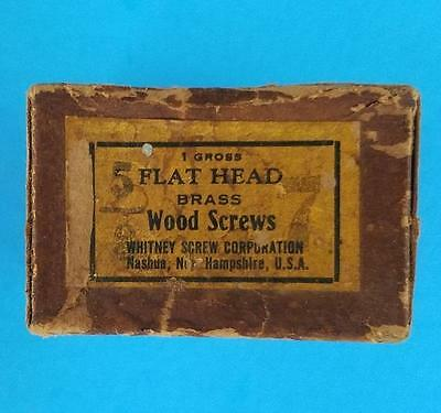 "144 Vintage #7 -- 5/8"" Flat Head Brass Slotted Wood Screws NOS Box"