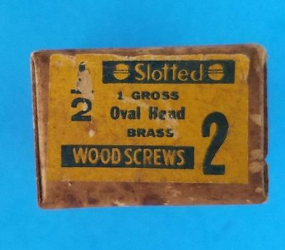 "144 Vintage #2 -- 1/2"" Oval Head Brass Slotted Wood Screws NOS Box"