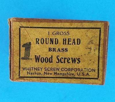 "144 Vintage #4 -- 1"" Round Head Brass Slotted Wood Screws NOS Box"