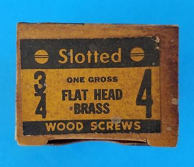 "120 Vintage #4 -- 3/4"" Flat Head Brass Slotted Wood Screws NOS Box"