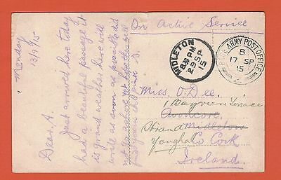 1915 WW1 Censor Postcard, Sent to Midleton, Co. Cork