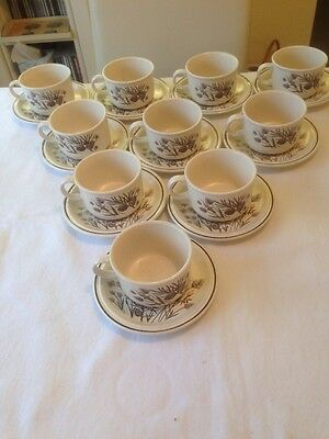Vintage W H Grindley Pinewood Cups And Saucers From The Early 1980s.