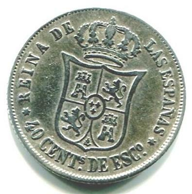 Spain. 1866 Isabel Ii 40 Cents De Escudo Silver Coin. Six Pointed Star, Madrid.