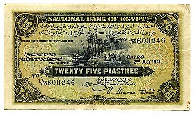 Egypt. 1941 25 Piastres Used Banknote. ** Scarce  **.