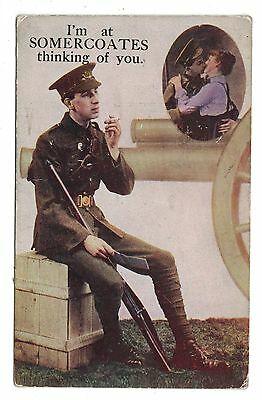 1916 WW1 Postcard, Soldier at Somercoates