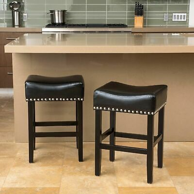 Sensational Set Of 2 Black Leather Backless Counter Stools W Nailhead Cjindustries Chair Design For Home Cjindustriesco