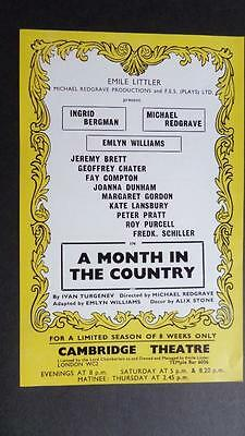 Flyer Ingrid Bergman Jeremy Brett Redgrave A Month In The Country Emlyn Williams
