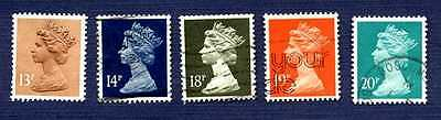 GREAT BRITAIN 1984/88-SC#1071/1085-QUEEN ELIZABETH II-MACHIN HEAD-Set of 5-USED