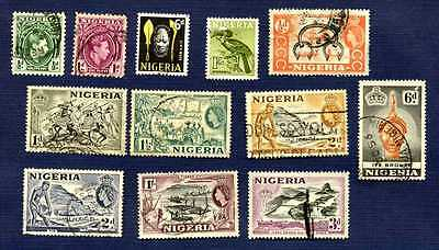 Nigeria-1935-1961-Sc#53/108-Miscellaneous Group Of 12-Used