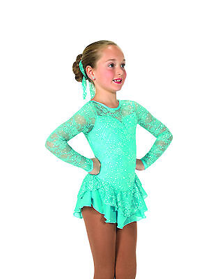 New Jerrys Competition Skating Dress 33 Love & Lace Tiffany Blue Made on Order