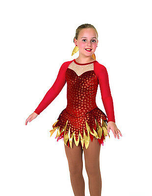 New Jerrys Competition Skating Dress 46 Feather & Flame Made on Order