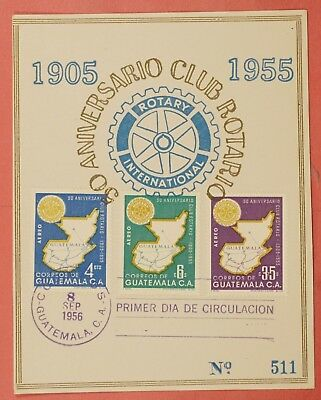1956 Fdc Card Guatemala Rotary International Airmail Set