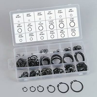 300 pc External SNAP RING ASSORTMENT WITH ORGANIZER 18 Sizes USA Shipper