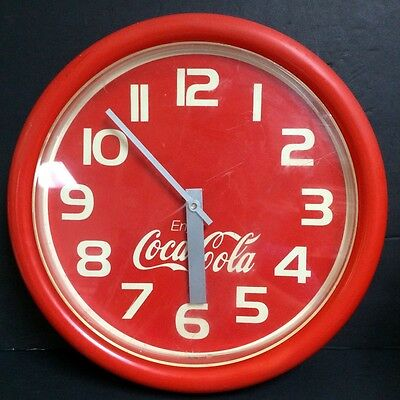 1989 Vintage Coca-Cola Clock Red Plastic Wall Model Cbc 025/cec 003 Ridan