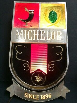 Vintage Michelob Light Up Beer Sign Crest Boot Hopps Plastic/metal Working!