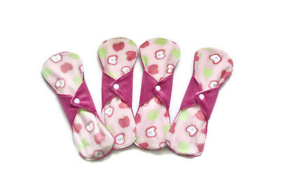 "Set of 4 pads 10 1/2"" Long Minky Menstrual Sanitary Cloth Pads Washable and Reus"