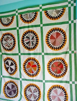 Antique Vintage Quilt TOP 92 by 82 inches Civil War? Mariner's Compass Fragile