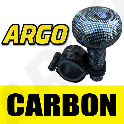 Carbon Fibre Look Steering Wheel Assister Aid Knob Universal Ball Spinner Lorry
