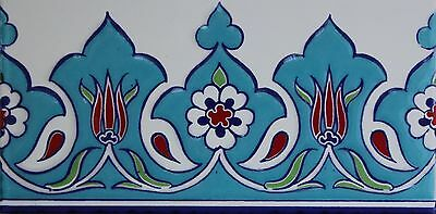 "Turkish Turquoise 4""x8"" Raised Iznik Ceramic Tulip & Daisy Pattern Tile Border"