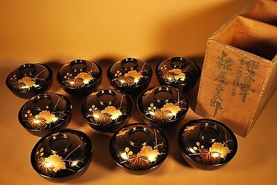 10 ANTIQUE 130 Yr Old 1887 JAPANESE LACQUER TEA / RICE BOWLS / With Storage Box