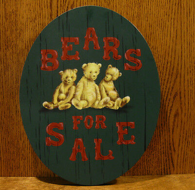 "Tender Heart Treasures #THT62530 BEARS FOR SALE, 13.5"" wood sign to hang"