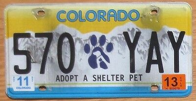 2013 Colorado Specialty License Plate Number Tag Adopt a Shelter Pet - $2.99 Sta