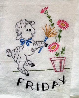 Vintage Embroidered Linen Thursday Country Kitchen Towel Lamb Shopping Old