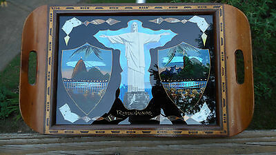 Vintage Brazillian Tropical Butterfly Tray Of Rio W/ Sugarloaf Mountain & Jesus