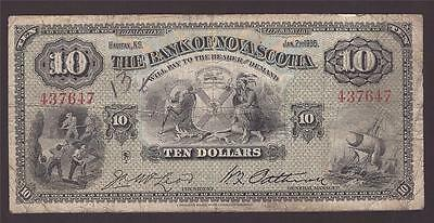 1935 Bank of Nova Scotia $10 banknote 437647 VG8 pencil number on obverse