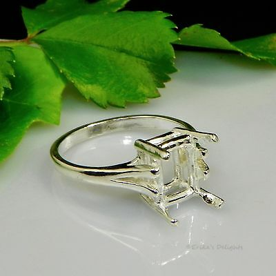 10x8 Emerald Cathedral Sterling Silver Pre-Notched Ring Setting Sz 7