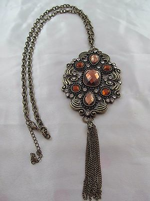 Vintage AGED GOLD LARGE ANTIQUE look PENDANT TASSEL NECKLACE, Rhinestones, Brown