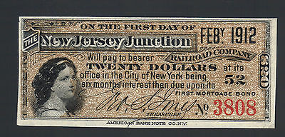 $20 New Jersey Junction from $1000 Railroad Bond Coupon Note NEAT Paper Bill