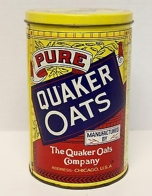 Quaker Oats Cereal Tin~Vintage 1984~Yellow Metal~GUC