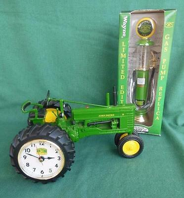 "Danbury Mint John Deere ""b""  Farm Tractor 1:16 Scale Die-Cast Clock + Gas Pump"