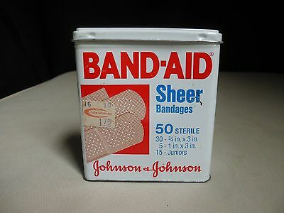 Band-Aid Johnson Metal Tin Hinged Box 50 Sheer Bandages Vintage Lithograph