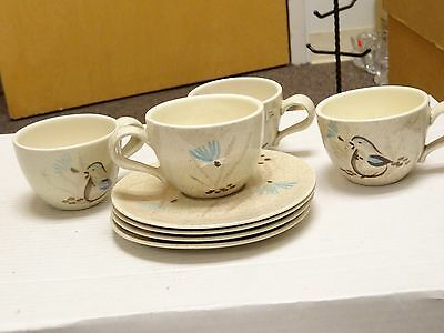 Set Of 4 Vintage Red Wing Bob White Hand Painted Pottery Coffee Cup & Saucers
