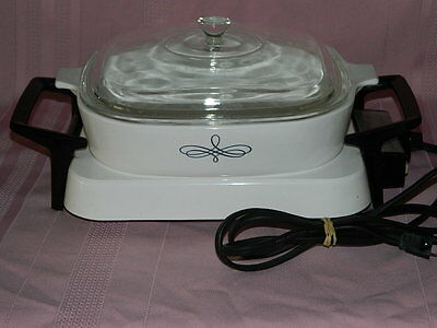 Corning Ware Electromatic Electric Skillet Warmer Pyrex Black Trefoil Casserole