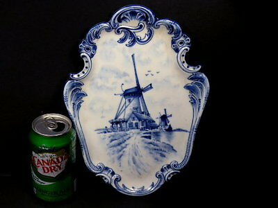 Antique H/p Royal Delft Flow Blue Porcelain Hanging Windmill Museum Wall Plaque