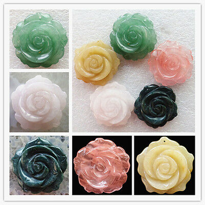Carved Mixed Gemstone Flower Pendant Bead 36x36x12mm Pick 1Pcs Or 5Pcs XJ-635