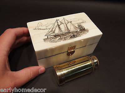 Vintage Antique Style Sail Ship Scrimshaw Bone & Wood Trinket Box w Telescope