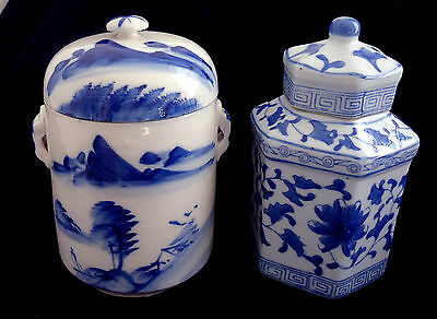 2 x BLUE & WHITE PORCELAIN GINGER JARS with LIDS ( Perfect Cond) Shapes vary