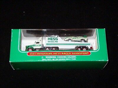 2001  Hess Mini Racer Transport Truck-New In Box