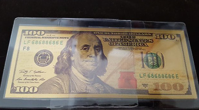 $100 One Hundred DOLLAR BILL 24 CT. GOLD PLATED Beautiful Rendition Collectable