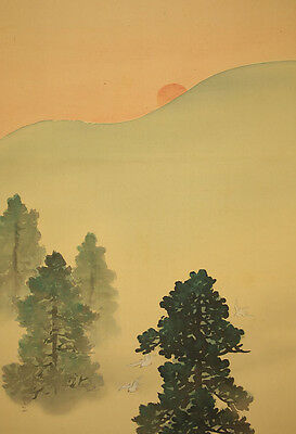 "JAPANESE HANGING SCROLL : GYOKUHO ""Rising Sun,Dove and Deer""  @b442"