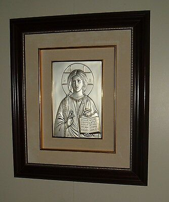 "SALERNI Icon CHRIST THE TEACHER 18""W x 22""H Sterling Silver JESUS Wood Framd NEW"