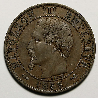 1853 B France 5 Centimes KM# 777.2 Napoleon III Coin Lovely Details