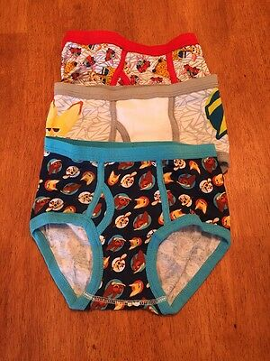 Boys NWOT Disney Cartoon Size 8 Cotton Briefs Lot Of 3