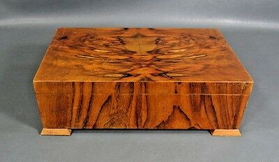 Antique Victorian Marquetry Walnut Rosewood Wooden Jewelry Trinket Casket Box