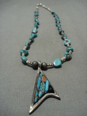 Important Charles Loloma Apprentice Vintage Navajo Turquoise Silver Necklace