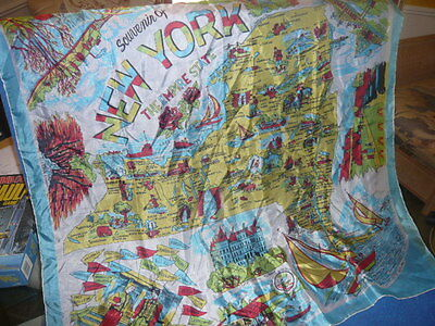 1950's Hand Rolled Silk Scarf SOUVENIR OF NEW YORK Empire State MADE IN JAPAN